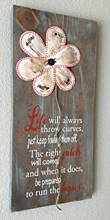Baseball Flower Sign, Life Will Always Throw Curves, Baseball/Softball Sign Decor, Inspirational Quote, Baseball Softball