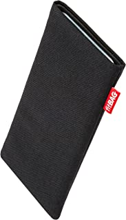 fitBAG Rave Black Custom Tailored Sleeve for Samsung Galaxy Note 9 | Made in Germany | Fine Suit Fabric Pouch case Cover with Integrated Microfibre Lining for Practical Display Cleaning