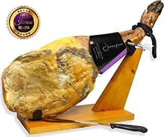 Iberico Ham Acorn-fed Bellota 100% Pure Breed (shoulder) Bone in from Spain + Ham Stand Kit - Jamon 100% Iberico de Bellota Pata Negra (Paleta Iberica)