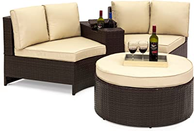 Amazon.com : Garden Lounge Set 27 Pieces Poly Rattan Brown ...