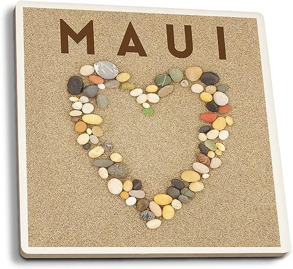 Lantern Press Maui Hawaii Stone Heart On Sand Set Of 4 Ceramic Coasters Cork Backed Absorbent