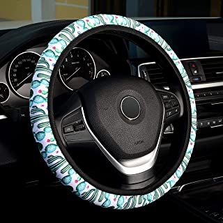 Labbyway Universal Steering Wheel Covers, Cute Cactus Theme Interior Steering Wheel Cover for Women and Girls, Skidproof, Stable, Heat Resistant