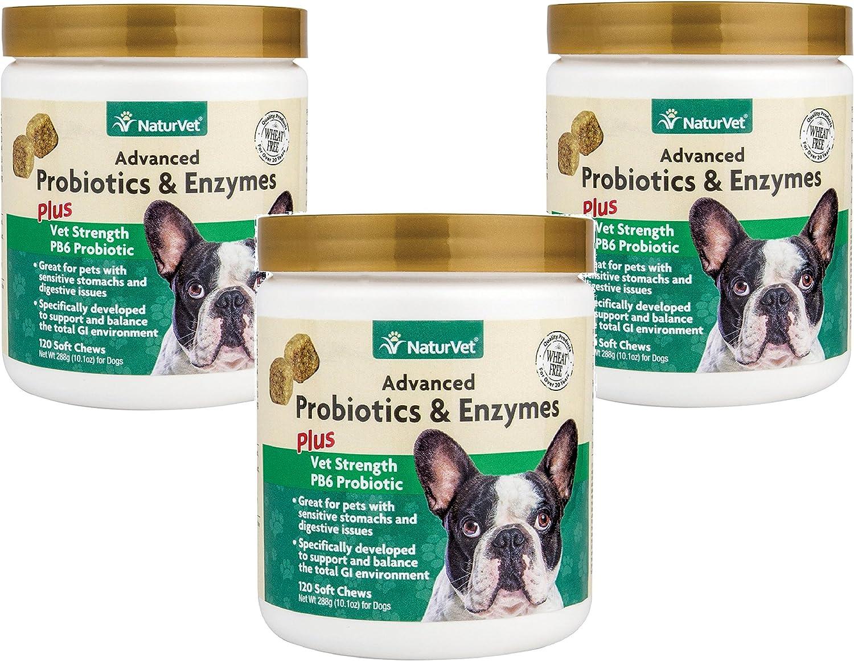 360Count NaturVet Advanced Probiotics & Enzymes Plus Vet Strength PB6 Probiotic Soft Chews for Dogs (3 Jars with 120 Chews Each)