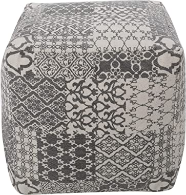REDEARTH Cube Boho Pouf -Unstuffed Dhurrie Printed Poof Pouffe Ottoman Accent Chair Square Seat Footrest for Living Room, Bed