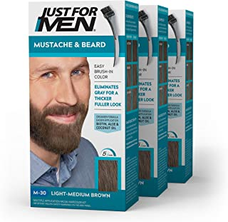 Just For Men Mustache & Beard, Beard Coloring for Gray Hair with Brush Included - Color: Light-Medium Brown, M-30 (Pack of 3)