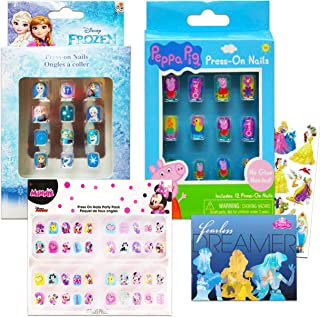 Disney Press on Nails for Girls Party Favors Super Set ~ Over 60 Nail Art Stickers Featuring Minnie Mouse, Peppa Pig, and Frozen with Bonus Stickers (Disney Girls Party Supplies Costume Accessories)