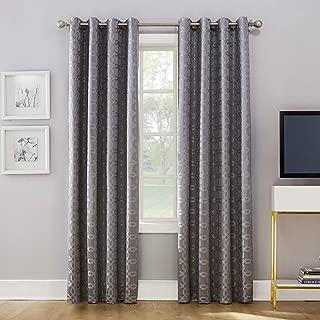 Sun Zero Rowes Woven Trellis Blackout Lined Grommet Curtain Panel, 52