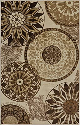 Mohawk Home New Wave Inspired India Neutral Medallion Printed Area Rug, 7'6x10', Tan