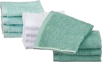 AmazonBasics Cotton Washcloths - 12-Pack, Seafoam Green, Ice Blue, White