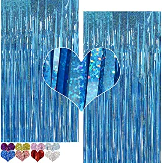 PAYOO Foil Curtain Backdrop Purple 2 Packs 3ftx7ft Laser Party Backdrop Curtain,CYLMFC Rain Foil Fringe Curtains for Birth...