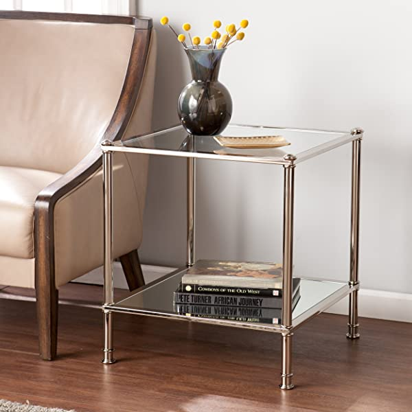 Southern Enterprises Paschall End Table Metallic Silver Finish