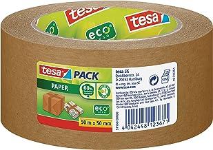 tesa papieren verpakkingstape van gerecycleerde materialen voor het verpakken van pakketten en dozen 50 m x 50 mm, verpakk...