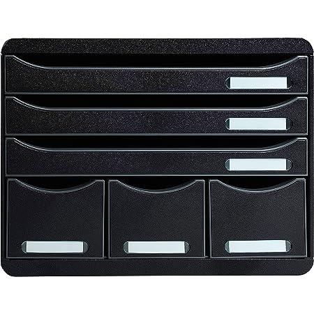 Exacompta - Réf. 306714D - STORE-BOX - Caisson 6 tiroirs, 3 tiroirs pour documents A4+ et 3 tiroirs fins hauts-Dimensions extérieures : Profondeur 27 x largeur 35,5 x Hauteur 27,1 cm-noir/noir glossy