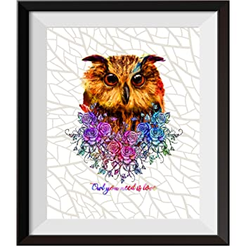 Uhomate The Owl Decor Cute Owl Wall Art Owl Painting Home Canvas Prints Wall Art Baby Gift Inspirational Quotes Wall Decor Living Room Bedroom Bathroom Artwork C106 (8X10)