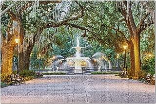 Savannah, Georgia - Forsyth Park Fountain - Photography A-94825 (20x30 Premium 1000 Piece Jigsaw Puzzle, Made in USA!)
