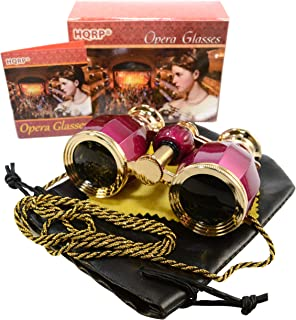 HQRP 4 x 30 Opera Glasses Antique Style Burgundy Pearl with Gold Trim w/Necklace Chain 4X Extra High Magnification with Crystal Clear Optics (CCO)