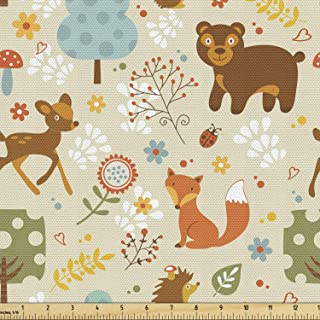 Flowers Organic Deer in forest ornament Woodland cotton fabric by the yard Fox/'s fabric Rabbits birds pattern Wild animals nursery