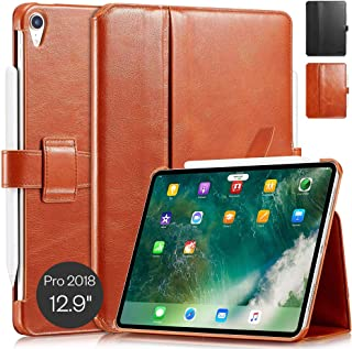 "KAVAJ Case Leather Cover London Works with Apple iPad Pro 12.9"" 2018 Cognac-Brown Genuine Cowhide Leather with Pencil Hold..."