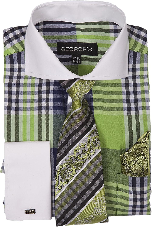 George's Big Plaid Pattern Dress Shirt Woven Tie & Hankie & Cuffs AH626
