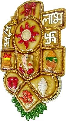 Purpledip Resin Wall Hanging 'Good Fortune': Auspicious Hindu Symbols Om, Shri, Ganesha, Shubh-Labh, Lotus, God's Footprints, Shankha, Kalash (10135A)