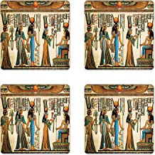 Lunarable Egyptian Coaster Set of 4, Egyptian Papyrus Depicting Queen Nefertari Making an Offering to Isis Image Print, Square Hardboard Gloss Coasters for Drinks, Multicolor