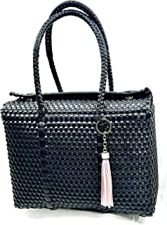 TOTE BAG FOR WOMEN HANDMADE PURSE WOVEN BUCKET PURSE - This is an elegant straw bag design with leather finishes. The handmade bag for women, is great for the business casual look.
