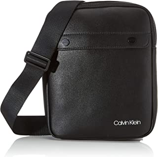 Calvin Klein - United Pu Flat Crossover, Shoppers y bolsos de hombro Hombre, Negro (Blackwhite Black), 1x1x1 cm (W x H L)