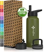 theflow Insulated Water Bottle Large 32oz Stainless Steel Hydro Vacuum Flask with wide mouth Straw Lid, Coffee Flip Lid and Carabiner, Double Wall Sports Travel Metal Modern Tumbler for Coldest Drinks