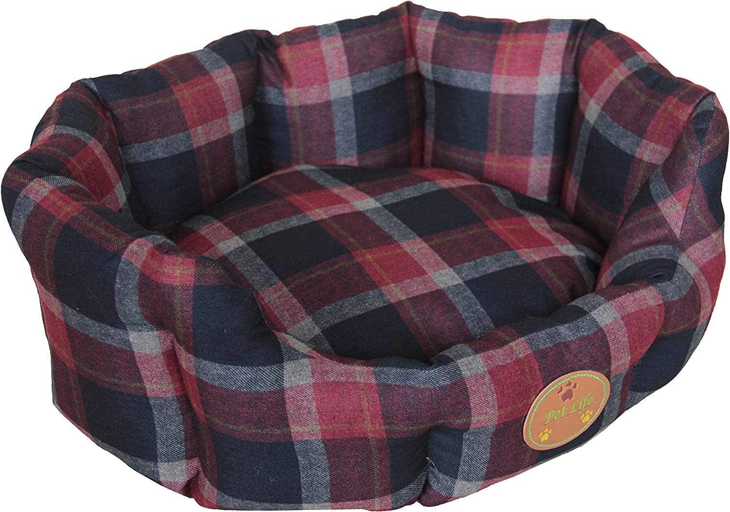 PET LIFE 'WickAway' WickProof NanoSilver and AntiBacterial Water Resistant Rounded Circular Pet Dog Bed Lounge, XSmall, Red, bluee Plaid