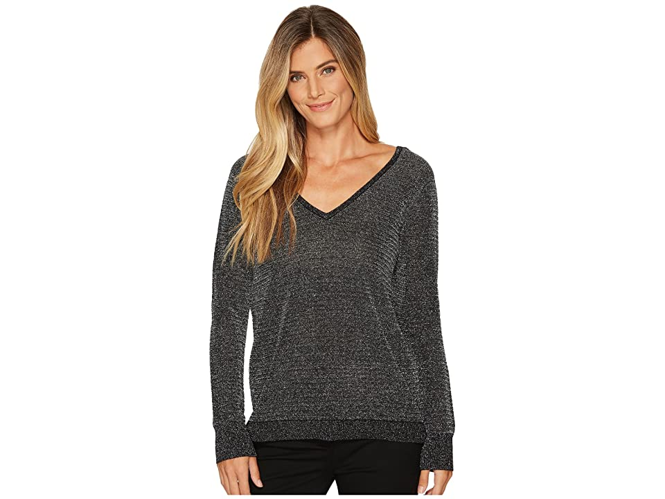 NYDJ Metallic Double V-Neck Sweater (Black) Women
