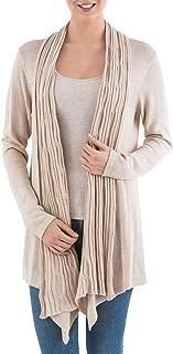 NOVICA Beige 10% Alpaca Wool Long Sleeves Cardigan Sweater, Waterfall Dream'