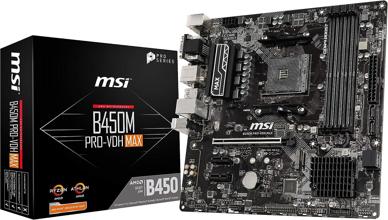 MSI ProSeries AMD Ryzen 2ND y 3ª generación AM4 M.2 USB 3 DDR4 D-Sub DVI micro-ATX placa base (B450M PRO-VDH Max)