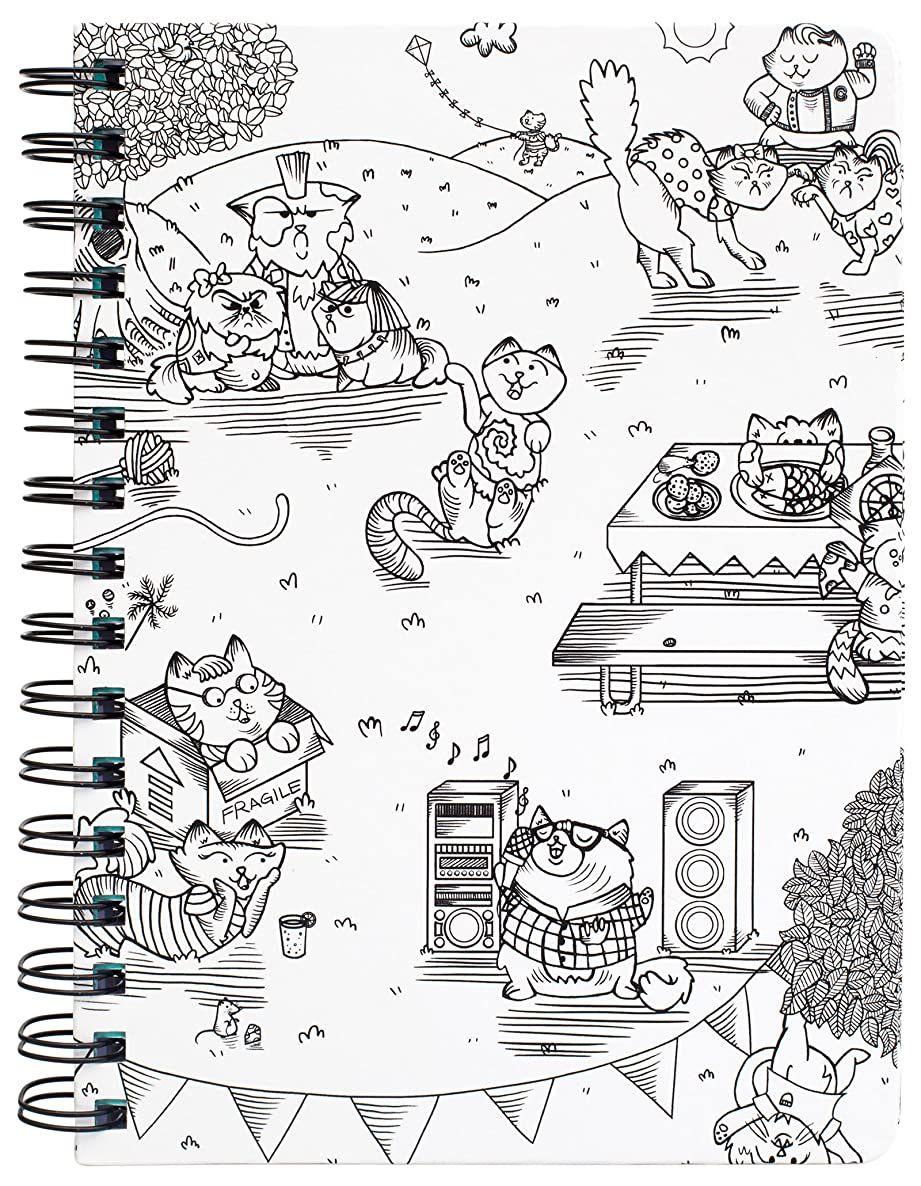 American Crafts Adult Coloring Books 6 x 8.25 Spiral Notebook Kitty Karaoke 80 Sheets