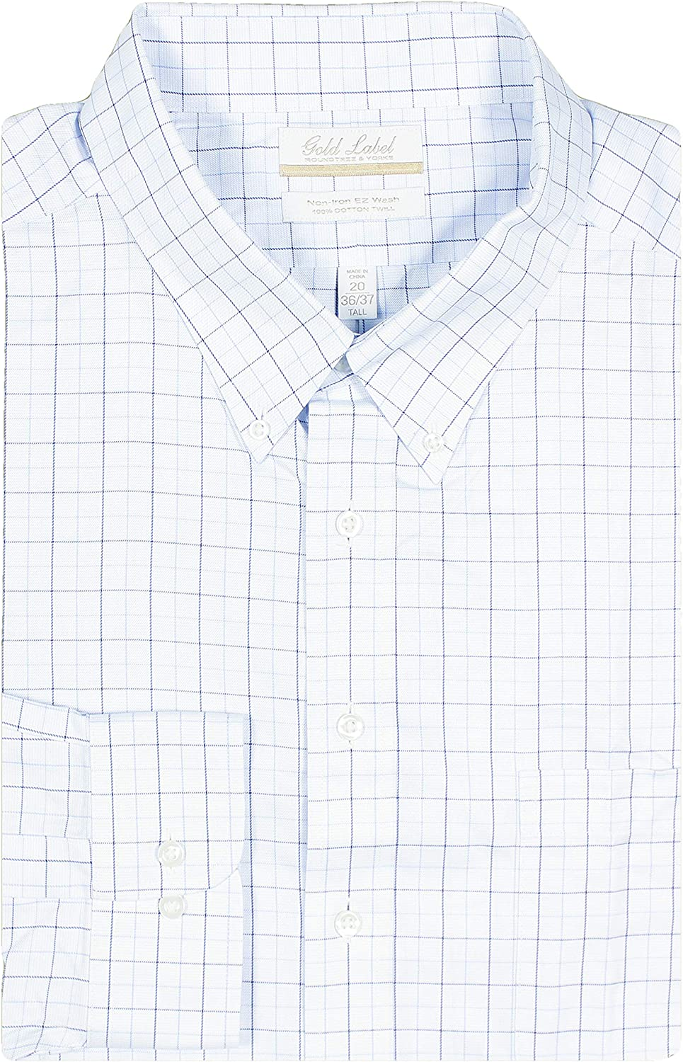 Gold Label Men's Big and Tall Non-Iron Wrinkle-Resistant Easy-Care Cotton Twill Dress Shirt, Button-Down Collar (Blue 036 & White, 18.5