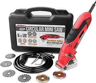 Hi-Spec 10 Piece 400W 3.6A Corded Mini Circular Saw. Portable Power Sawing & Cutting in Wood, MDF, Plastic, Drywall, Ceram...