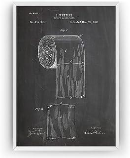 Papier Hygiénique 1891 Affiche De Brevet - Toilet Roll Impressions Prints Art Lavabos Toilette Salle De Bains Patent Poste...