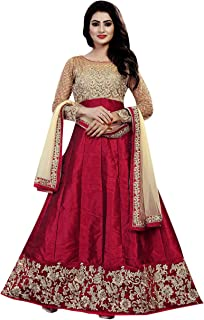 Ethnic Empire Banglory Silk ANd Net Women's Long Semi Stitched Anarkali Salwar Suits (Ethnic_ER108_Maroon_Free Size)
