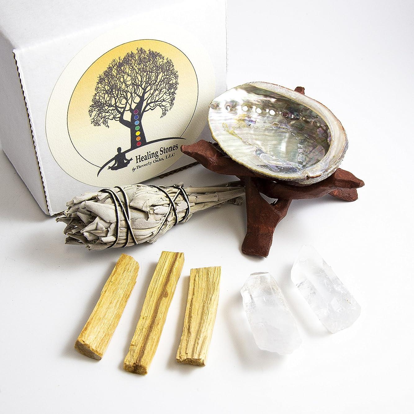 魔術師類人猿鋸歯状Beverly Oaks瞑想Ritualキット?–?2?Clear Quartz Crystals , Palo Santoスティック、カリフォルニアホワイトセージスティック、アワビシェル、コブラスタンド?–?HealingクリスタルをRituals