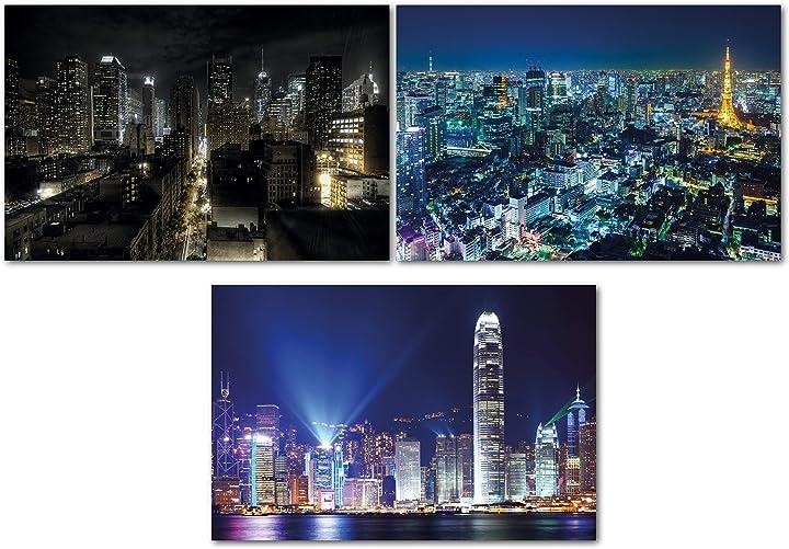 Poster salotto great art® set di 3 poster xxl - vista notturna delle città B09444L7HQ