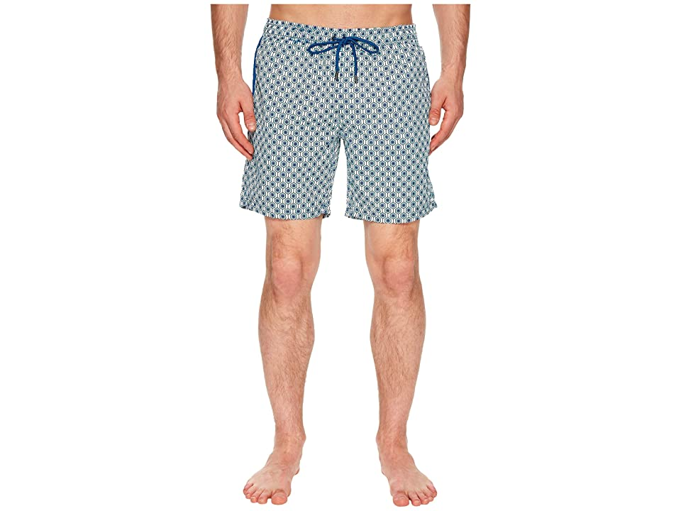Mr. Swim Geometric Printed Dale Swim Trunks (Turquoise) Men