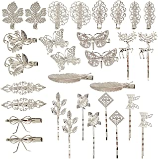 inSowni 30 Pack/15 Pairs Retro Vintage Metal Silver Alligator Hair Clips Barrettes Bobby Pins Leaf Flower Butterfly Access...