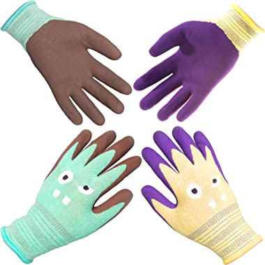 COOLJOB Kids Gardening Gloves, Comfortable Latex Durable Children Work Gloves for Kids, Mini Size for Ages 2-5, Green & Yellow Small Size (2 Pairs S)