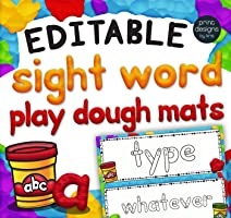 Editable Playdoh Sight Word Mats with Custom Clay Font