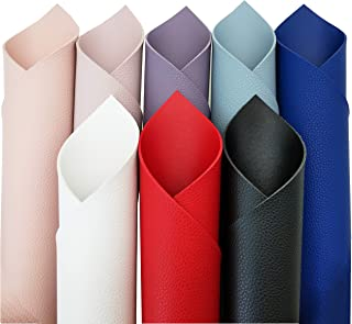 """ZAIONE 8pcs/Set 8"""" x 6"""" Double Sided Litchi Grain Texture Faux Leather Sheets Fabric PU Litchi Synthetic Faux Leather Fabr..."""