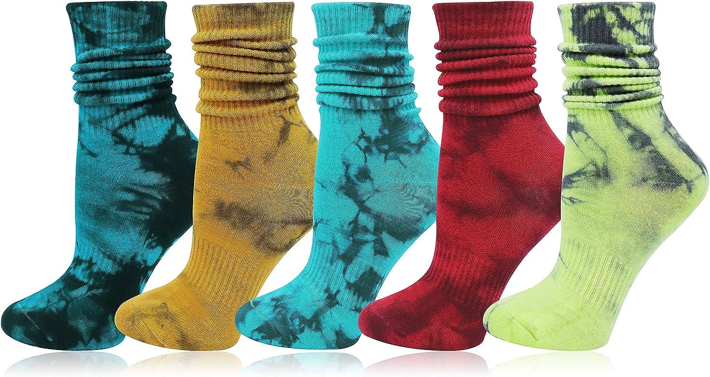 Bellady Women's Soft Colorful Tie-Dye Socks, Cotton Casual Crew Sock 5 Pack, Fashion Novelty Unisex Tie Dye Socks