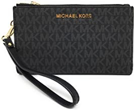 Michael Kors Jet Set Travel Double Zip Wristlet - Signature PVC (Black with Gold Hardware)