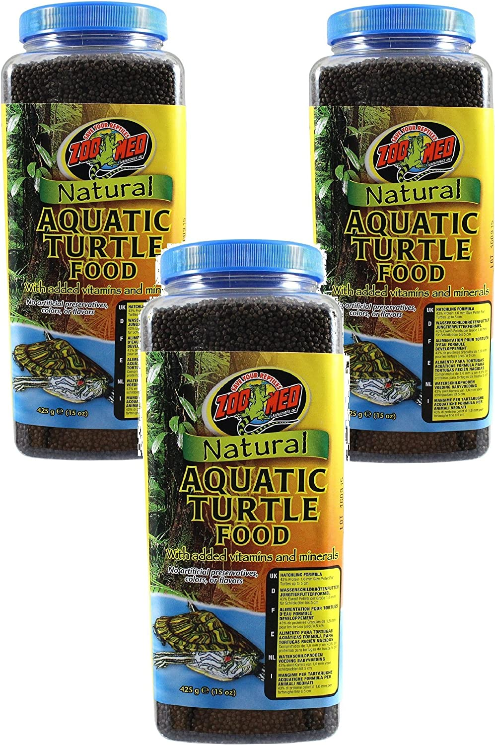(3 Pack) Zoo Med Natural Aquatic Turtle Food (15 Ounce Per Pack)