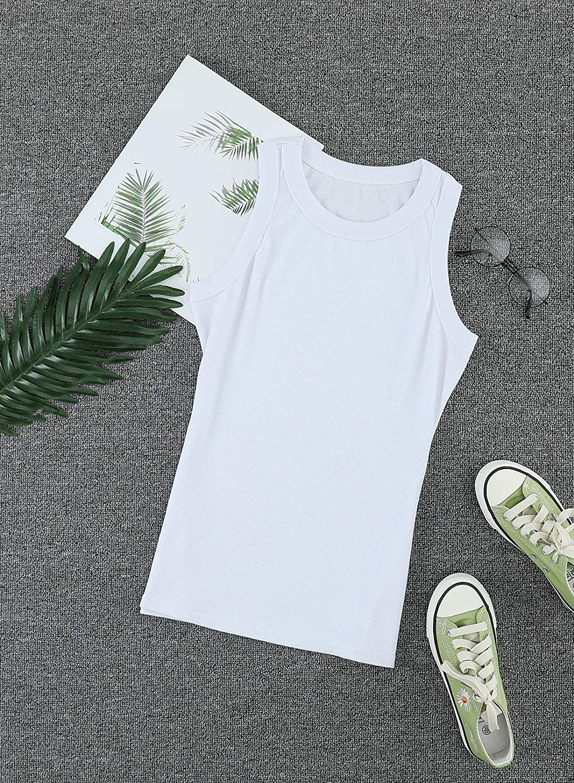 Aleumdr Womens Sleeveless Ribbed Tank Tops Crewneck Slim Fit Racerback Shirts Cami Vest Workout Vest S-XXL