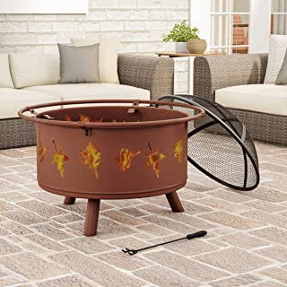 """Pure Garden 50-LG1201 Round Large Steel Bowl with Leaf Cutouts, Mesh Spark Screen, Log Poker & Storage Cover 32"""" Outdoor Deep Fire Pit, Brown"""