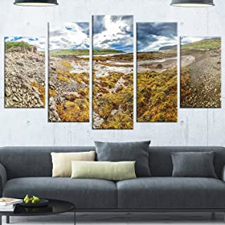 Designart MT11245-373 Beautiful Iceland Coast Panorama - Landscape Glossy Metal Wall Art,,60x32
